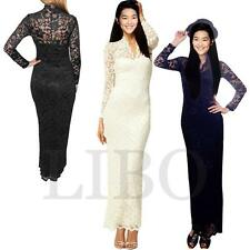 Women Sexy Lace Floral Long Sleeve V-neck Wedding Evening Party Bodycon Dress