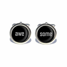 Stag Do Wedding Awesome Design Circular Cufflinks with Personalised Engraved Gif