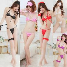 Super Sexy 5PCS Bondage Lingerie Role Play Babydoll Dress Bikini Play Clothes
