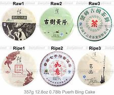Kinds of 12.6oz/357g Old Raw/Ripe Tea Cake Yunnan Uncooked/Cooked Puerh