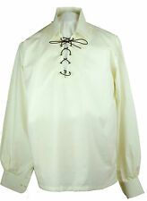 Mens Jacobite Deluxe Cream Ghillie Shirt Jacobean Cotton Kilt Wedding Event Stag