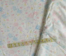 Vtg 80s baby cotton fabric Handprints pastel toss CHOOSE percale or flannel BTHY