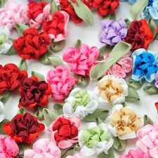 DIY Beautiful Satin Ribbon Flowers With Leaf For Appliques Craft Satin Rose