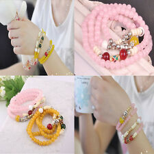 New Bohemian Women Fashion Bangle Multilayer Czech Crystal Bead Bracelet Jewelry