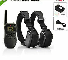 Rechargeable Waterproof 300M Remote Dog Vibrate Collar for 2 Small/Medium Dogs