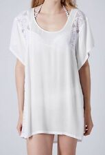 TOPSHOP Womens Ladies White Lace Panel Oversized Tee Shirt Pull Over Top S M L