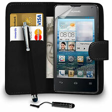 PU LEATHER WALLET CASE COVER FOR HUAWEI ASCEND Y300 STYLUS PEN AND SCREEN GUARD
