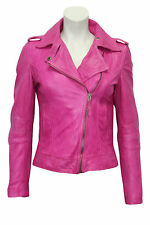 Ladies BRANDO Women 442 Pink Biker Style Motorcycle Soft Leather Rock Jacket