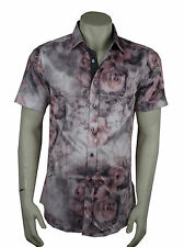 mens fitted shirt, 60's 70's retro disco party shirt fancy dress pink floral