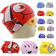 #QZO Cute Children Cartoon Swimming Cap Silicon Diving Waterproof Fish Shark