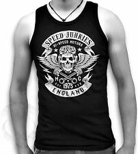 Speed Junkie London Biker Skull Wings Pistons Patch Mens Muscle T Tank Sm 2XL