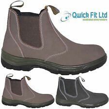 NEW MENS LEATHER SAFETY STEEL TOE CAP CHELSEA DEALER ANKLE BOOTS SIZES 6-12UK