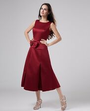 Women's Satin Sleeveless Tea Length Bow Wedding Bridesmaid Dress Party F0903