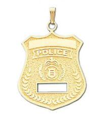 10k or 14k Yellow Gold Police Officer Badge Pendant