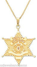 10k or 14k Yellow Gold Deputy Sheriff Police Officer Pendant Necklace