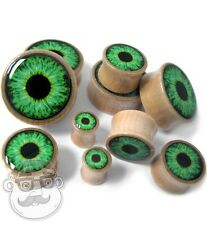 Pair of Green Eye Wood Plugs - Sizes / Gauges (0G - 1 Inch)  - New