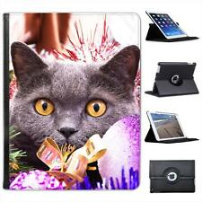 Black Cat Hiding Amongst Christmas Decorations Leather Case For iPad 2, 3 & 4