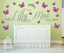 Personalised Name, crown with 3D Butterflies, Princess, Wall Art Sticker Nursery