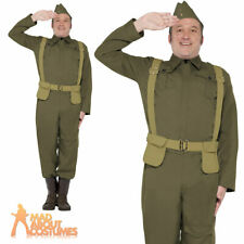 Mens WW2 Home Guard Private Costume Dads Army Uniform Fancy Dress Outfit