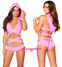 Sexy Rave Festival Wear Pink Wrap Around Halter Crop Top with Detachable Hood