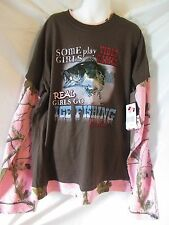 """Realtree Girl t-shirt,Pink/Brown Camo,"""" ReaI Girls Go ICE Fishing"""" New with tag"""