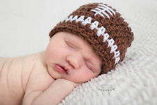 **BABYLUV CROCHET**FOOTBALL HAT*BEANIE * PROPS * INFANT to ADULT * BROWN or PINK