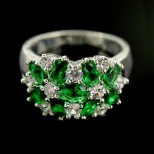 Noble Oval Cut artificial Emerald & white topaz silver Ring Size 6-10