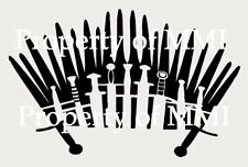 """IRON THRONE Style#1 GAME OF THRONES Vinyl DECAL Car Window Wall SWORDS up to 17"""""""
