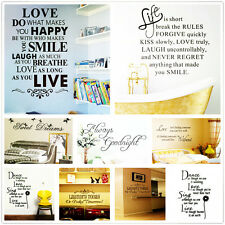 Hot Quote Words Vinyl Art Home Decor Mural Removable Decal Room Wall Sticker New