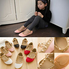 Kids Girls Sandals Buckle Princess Rivet T-strap Flats Pointed Toe Shoes TT01