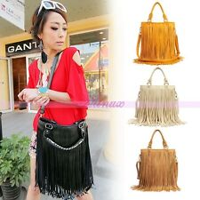 Classic Ladies Tassel Fringe Faux Suede Leather Handbag Messenger Shoulder Bag