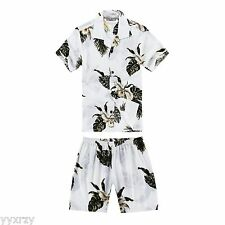 Boy Toddler Aloha Shirt Set Shorts Beach Hawaiian Cruise Luau White Green Leaf