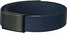 NEW CANVAS NAVY MILITARY WEB BELT WITH MATTE BLACK FLIP TOP BUCKLE  AND TIP