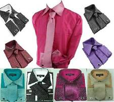 Mens Formal Dress Shirt with cufflink Tie Set wedding shirt boys formal shirt