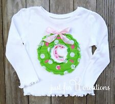 Infant Toddler Girl Raggy Christmas Wreath with Letter and Bow Embroidered Shirt