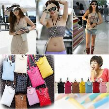 Womens Girls Small Mobile Phone Bags Coin Satchel Single Shoulder Weave Bag