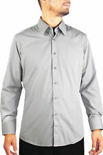 New Slim Fit Amanti Mens Light Grey Silver Solid  Dress Shirt & Free Shipping