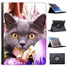 Black Cat Hiding Amongst Christmas Decorations Leather Case For iPad Air & Air 2