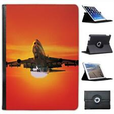 Large Airplane Flying at Sunset Folio Wallet Leather Case For iPad Air