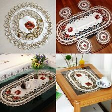 Embroidered Red Peony Cutwork Design Table Placemat Cup Holder Tissue Box Cover