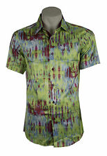 mens fitted shirt, 60's 70's retro disco party shirt fancy dress green spec