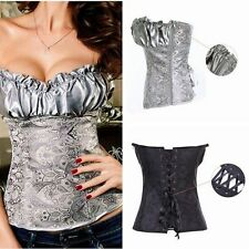 NEW Style Women Strapless Lace Up Satin Corset Sexy Lady Bustier Plus Size L-4XL