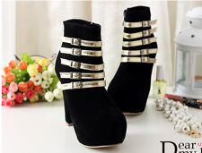 Womens color stitching buckle thick heel ankle boots platform wedding high heels