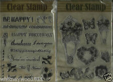 Habico Clear Rubber Stamps - Words Greetings Sentiments - Flowers & Butterflies