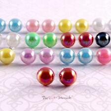 FUNKY PEARL DOME STUD EARRINGS PARTY GIFT 10MM QUIRKY RETRO VINTAGE WEDDING PROM