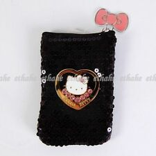 Hello Kitty Sequin Bowknot Mobile Cell Phone Bag Pouch