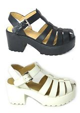 LADIES LOW HEEL TREAD FLATFORMS CLEATED SOLE SHOES CHUNKY SANDALS SIZE AB8552-2
