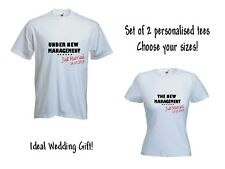 Set of 2 Personalised Under New Management T-Shirt Tee Ladies Mens Just Married