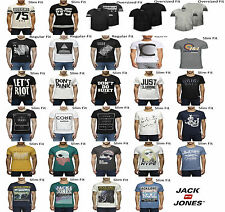Mens Jack Jones Jeans Designer Wish Crew Neck Graphic Retro Tee T-Shirt Top Tee