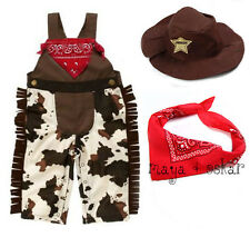Baby Boy Girl Cowboy Sheriff Costume Fancy Dress Outfit Scarf Hat Set 3 6 12 18M